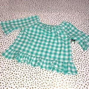 Crown & Ivy Gingham Check Off the Shoulder Ruffle